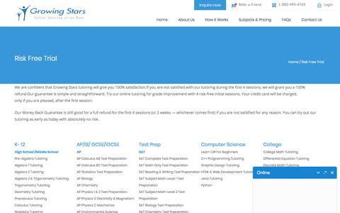 Screenshot of Trial Page growingstars.com - Risk Free Trial Online Tutoring - Money Back Guarantee | Growing Stars - captured Sept. 19, 2018