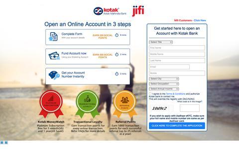 Screenshot of Landing Page kotak.com - Kotak - Online Account Opening Form - captured Nov. 14, 2016