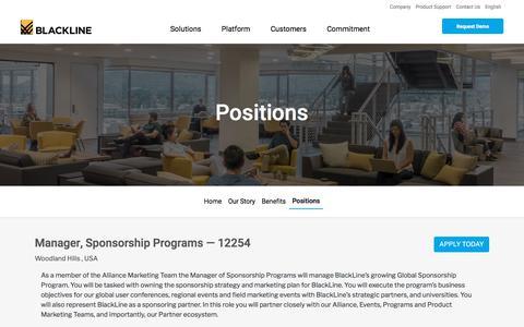 Screenshot of Jobs Page blackline.com - Manager, Sponsorship Programs| Woodland Hills, CA, United States - captured Nov. 29, 2019