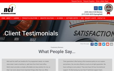 Screenshot of Testimonials Page ncibsi.com - D - Testimonials - NCI Business Systems - captured Nov. 15, 2018
