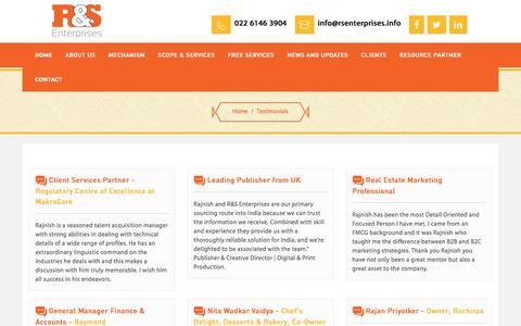 Screenshot of Testimonials Page rsenterprises.info - Testimonials : RS Enterprises - captured May 26, 2017