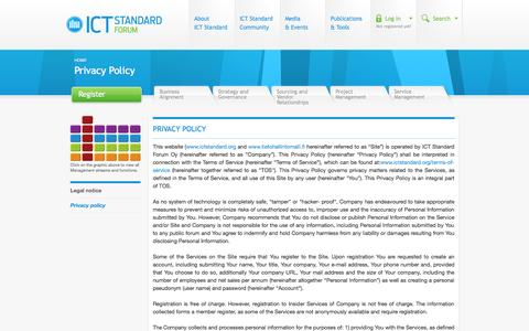 Screenshot of Privacy Page ictstandard.org - Privacy Policy | ICT Standard Forum | IT Governance | IT Management | Business IT - captured Oct. 3, 2014