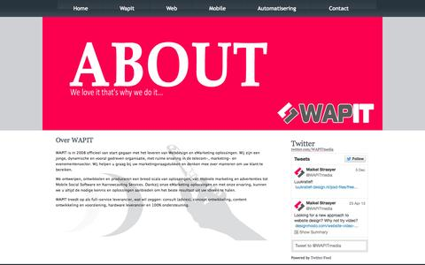 Screenshot of About Page wapit.nl - Wapit | WAPIT Media Marketing Solutions - captured Oct. 8, 2014