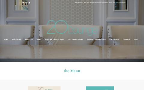 Screenshot of Menu Page 20lounge.com - Menu - 20 Lounge - captured Feb. 27, 2016