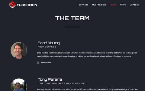 Screenshot of Team Page flashmanstudios.com - Our Team I Grow Your Game Studio With Us I Flashman Studios - captured Dec. 19, 2018