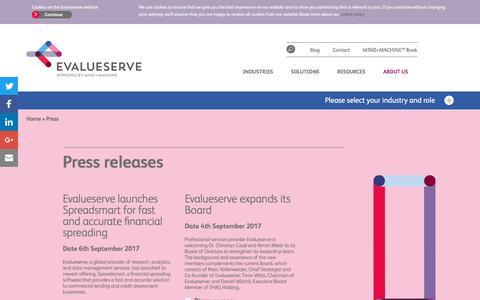 Screenshot of Press Page evalueserve.com - Press - Evalueserve - captured Dec. 26, 2017