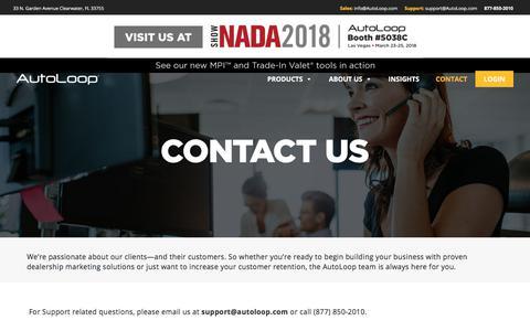 Screenshot of Contact Page autoloop.com - Contact Us – AutoLoop - captured March 16, 2018