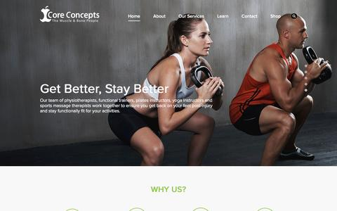 Screenshot of Home Page coreconcepts.com.sg - Physiotherapy & Functional Wellness | Back, Neck, Shoulder & Knee Pains - captured Dec. 12, 2015