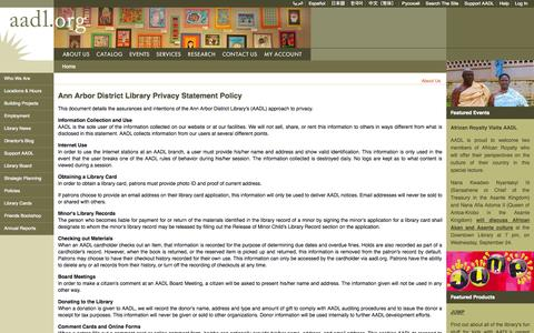 Screenshot of Privacy Page aadl.org - Ann Arbor District Library Privacy Statement Policy   Ann Arbor District Library - captured Sept. 22, 2014