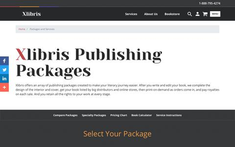 Screenshot of Services Page xlibris.com - Packages and Services - captured Nov. 8, 2019