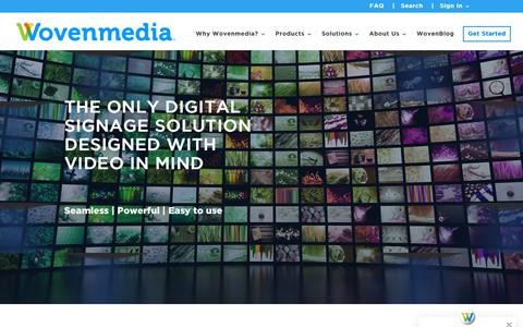 Screenshot of Home Page wovenmedia.com - Full-service Digital Signage Solution |Engage customers with video | Wovenmedia - captured May 17, 2019