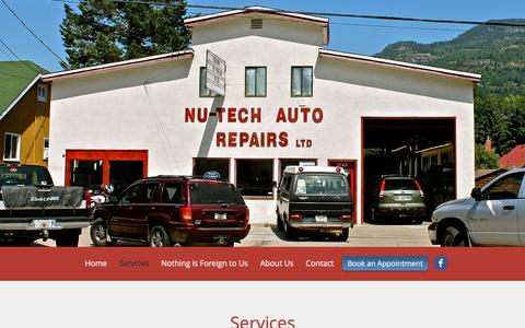 Screenshot of Services Page nutechauto.ca - Nutech Auto Repairs | Services - captured Dec. 1, 2016