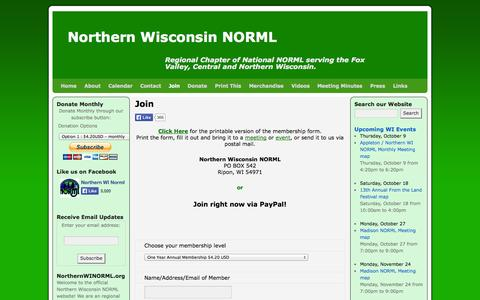 Screenshot of Signup Page northernwinorml.org - Join | Northern Wisconsin NORML - captured Oct. 6, 2014