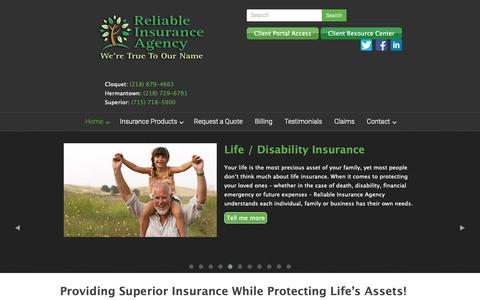 Screenshot of Home Page reliablemn.com - Home - Reliable Insurance Agency - captured Oct. 18, 2018