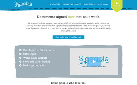 Welcome to Signable, a UK based eSignature provider