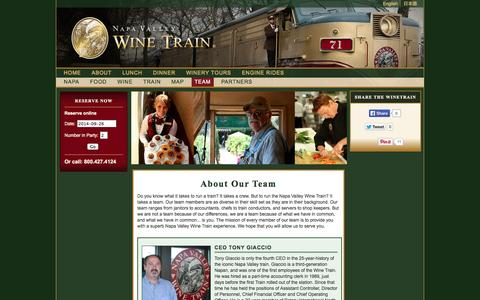 Screenshot of Team Page winetrain.com - About Our Team - Employees of the Wine Train | Napa Valley Wine Train - captured Sept. 24, 2014