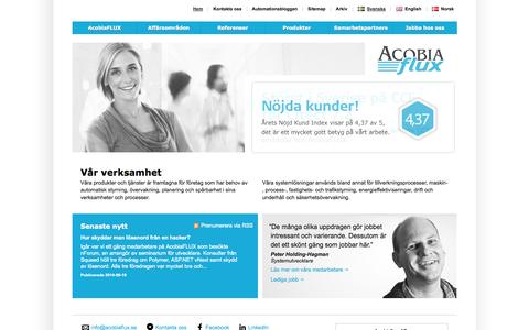 Screenshot of Home Page Press Page Site Map Page acobiaflux.se - Industriell IT & Automation i Göteborg och Stockholm | AcobiaFLUX - captured Sept. 26, 2014