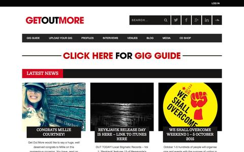 Screenshot of Home Page getoutmore.me - Gig Guide Liverpool, Gig Guide Wirral, Gig Guide Merseyside - captured Sept. 12, 2015