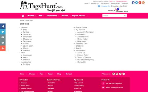 Screenshot of Site Map Page tagshunt.com - Site Map - TagsHunt.com - captured Oct. 27, 2014