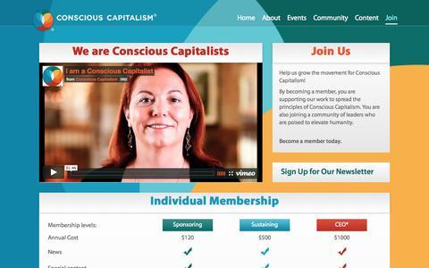 Screenshot of Signup Page consciouscapitalism.org - Membership | Conscious Capitalism - captured Sept. 23, 2014