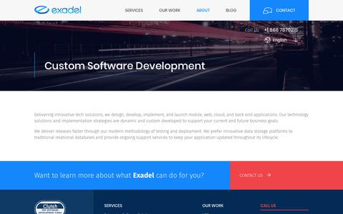Screenshot of Services Page exadel.com - Custom Software Development | Services | Exadel - captured April 13, 2018