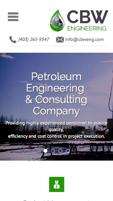 Screenshot of Home Page  cbwresourceconsultants.com - CBW Engineering | Petroleum Engineering & Consulting Company