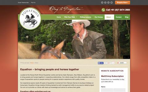 Screenshot of About Page equathon.com - Alex Watson - Noosa North Shore Equestrian Centre | Equathon - captured Oct. 8, 2014