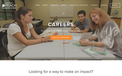 Screenshot of Jobs Page jubileereach.org - Engage | Careers Ń Jubilee REACH - captured Jan. 9, 2016