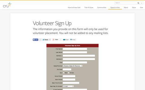Screenshot of Signup Page cru.org - Volunteer Sign Up - captured Sept. 19, 2014