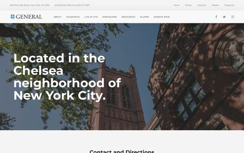 Screenshot of Contact Page gts.edu - Contact & Directions — The General Theological Seminary - captured Sept. 27, 2018