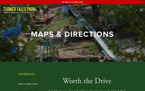 Screenshot of Maps & Directions Page turnerfallspark.com - Maps & Directions — Turner Falls Park - captured Oct. 31, 2018