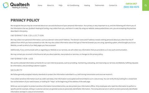 Screenshot of Privacy Page qualtechhvac.com captured Sept. 29, 2018