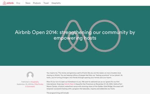 Screenshot of Blog airbnb.com - The Airbnb Blog - Company news, tips, and features - - captured Sept. 13, 2014
