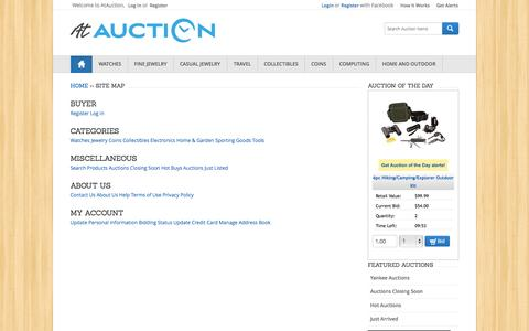 Screenshot of Site Map Page atauction.com - Live Online Auctions - $1 Start Bid | Jewelry, Watches, Sports Memorabilia and More | AtAuction.com - captured Sept. 19, 2014