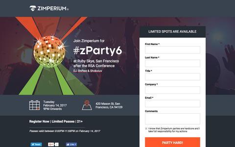 Screenshot of Landing Page zimperium.com captured Feb. 8, 2017