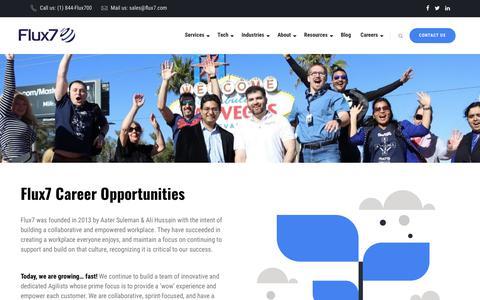 Screenshot of Jobs Page flux7.com - Job Openings for AWS Solutions & DevOps Experts- Flux7 - captured July 3, 2019