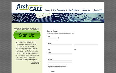 Screenshot of Signup Page firstcallsavings.com - Sign Up | First Call - captured Sept. 30, 2014