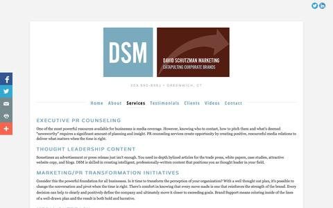 Screenshot of Services Page davidschutzmanmarketing.com - Services — David Schutzman Marketing - captured Oct. 5, 2014