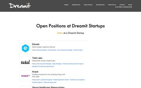 Screenshot of Jobs Page dreamit.com - Careers at Dreamit Startups — Dreamit Ventures - captured Oct. 15, 2018