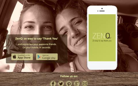 Screenshot of Home Page zenq.co - ZenQ - ze way to say thank you and appreciate your friends - captured Oct. 7, 2014