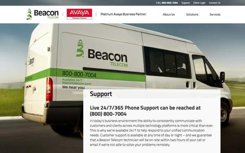 Screenshot of Support Page beacontelecom.com - Beacon Telecom - captured Dec. 30, 2015
