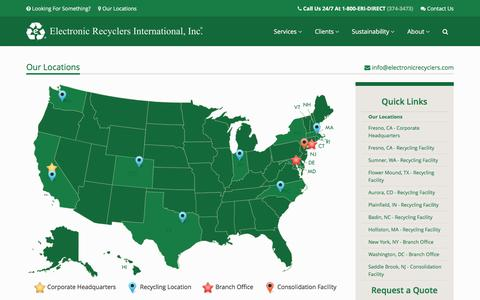 Screenshot of Locations Page electronicrecyclers.com - Our Locations | Electronic Recyclers International, Inc. - captured Jan. 27, 2016