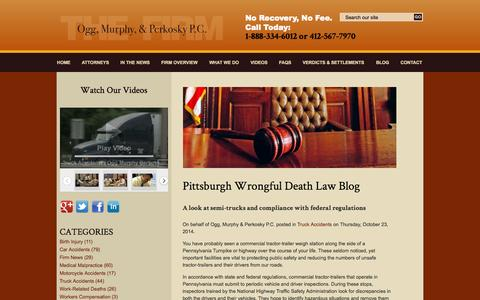 Screenshot of Blog ocmilaw.com - Pittsburgh Wrongful Death Law Blog | Ogg, Murphy & Perkosky LLP - captured Oct. 26, 2014