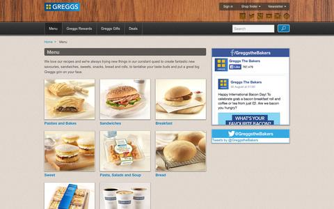 Screenshot of Menu Page greggs.co.uk - Our Menu | Greggs - captured Sept. 19, 2014