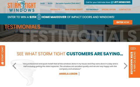 Screenshot of Testimonials Page stormtightwindows.com - Testimonials | Storm Tight Windows - captured Oct. 20, 2018
