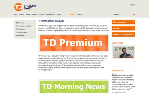 Screenshot of Products Page thomas-daily.de - Products › THOMAS DAILY GmbH - captured Oct. 9, 2014