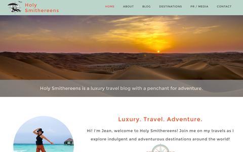 Screenshot of Home Page holysmithereens.com - Holy Smithereens! Travel Ideas for luxury and advenutre. - captured Nov. 7, 2016