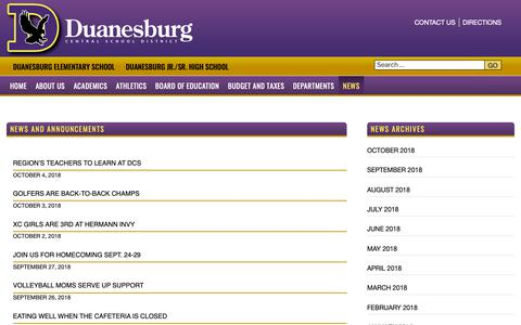Screenshot of Press Page duanesburg.org - News and Announcements | Duanesburg Central School District - captured Oct. 9, 2018