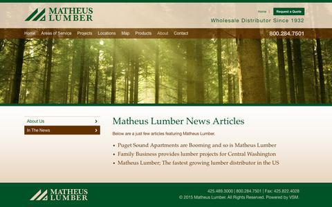 Screenshot of Press Page matheuslumber.com - Recent Articles - captured Oct. 17, 2017