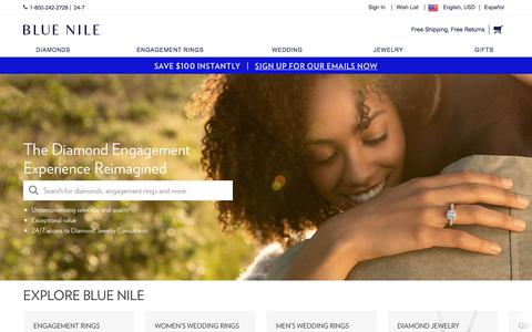 Screenshot of Home Page bluenile.com - Blue Nile: Diamond Jewelers – Engagement, Wedding Rings & Fine Jewelry - captured June 6, 2018